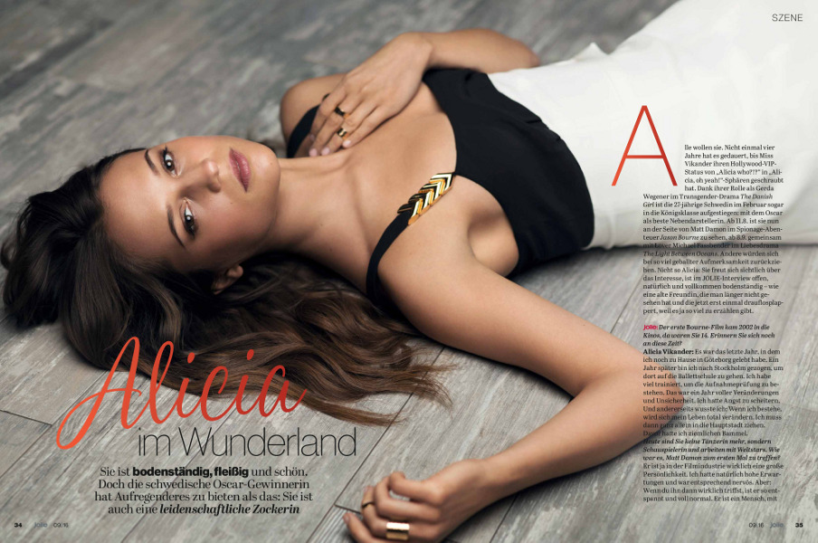 Alicia Vikander - Jolie (September 2016)